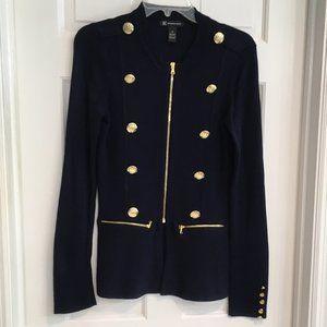 Inc Military Style Navy Zip Cardigan size XS EUC